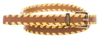 Michael Kors Leather Whip Stitched Belt