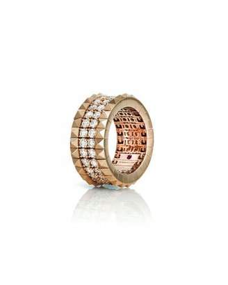 Roberto Coin 18k Rose Gold Diamond & Stud Ring, Size 7