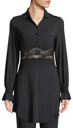 La Perla Lapis Lace-Inset Long-Sleeve Lounge Shirt