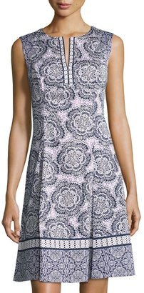 Maggy London Flower-Print Fit-and-Flare Dress, Purple/White $89 thestylecure.com