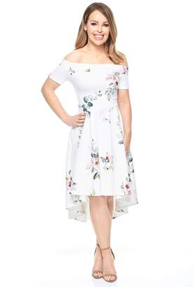 Bardot Womens Want That Trend Floral Dip Hem Dress - White