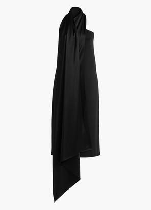 St. John Neck Tie One Shoulder Dress