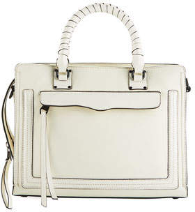 Rebecca Minkoff Bree Medium Top-Zip Satchel Bag, Antique White