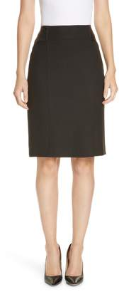 BOSS Valeta Soft Twill Faux Leather Detail Pencil Skirt