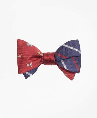 Brooks Brothers Dog Motif Print with Textured Alternating Stripe Reversible Bow Tie
