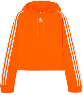 adidas Cropped Striped Cotton-jersey Hoodie - Orange
