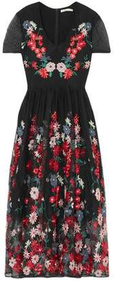 Maje Embroidered Tulle Midi Dress