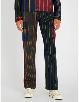Loewe Patchwork striped regular-fit wool-blend trousers