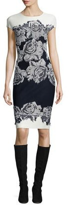 St. John Collection Nadia Floral Knit Cap-Sleeve Dress, Frost/Navy $1,295 thestylecure.com