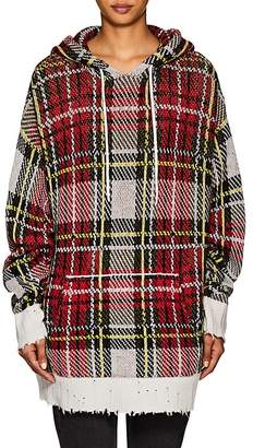 R 13 Women's Plaid Cashmere Oversized Hoodie