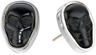 King Baby Studio - Obsidian Skull Stud Earrings Earring $215 thestylecure.com