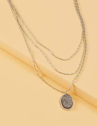 Lane Bryant 3-Layer Druzy Pendant Necklace