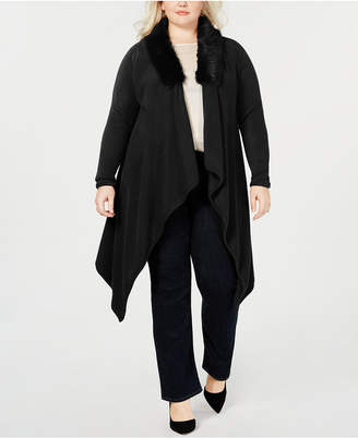 Say What Trendy Plus Size Faux-Fur Collar Cardigan Sweater