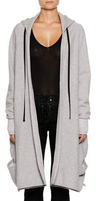 Unravel Heathered Terry High-Low Hooded Jacket