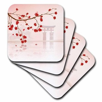 Vector 3dRose Beautiful Japanese Sakura Red Cherry Blossoms Branching Reflecting Over Water Oriental Design, Ceramic Tile Coasters, set of 4