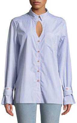 Victoria / Tomas Striped Cutout Button-Down Shirt