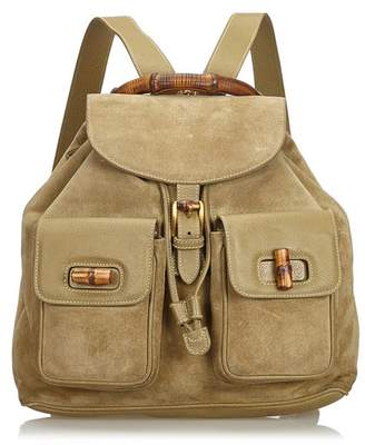 7914f2f6a587 Gucci Vintage Suede Bamboo Backpack