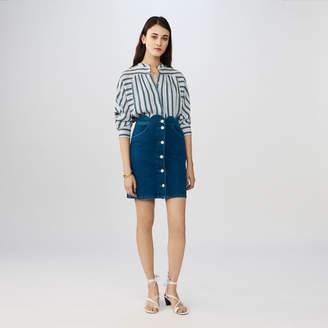 Maje Denim skirt with novelty cuts