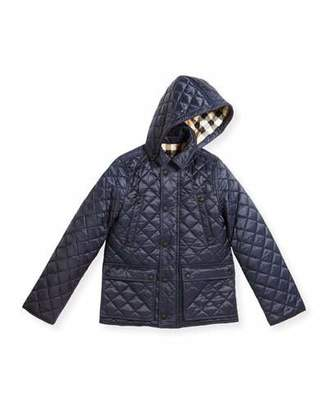 Burberry Charlie Quilted Jacket, Ink Blue, Size 4-14 $295 thestylecure.com