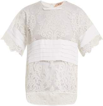 No.21 NO. 21 Crepe-panelled lace T-shirt