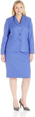 Le Suit LeSuit Women's Plus Size Texture 3 Button Jacket Skirt
