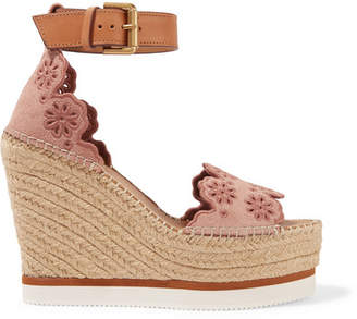 See by Chloe Leather And Embroidered Suede Espadrille Wedge Sandals - Antique rose