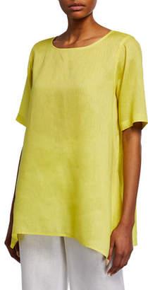 Caroline Rose Plus Size Short-Sleeve Tissue-Linen Swing Tee