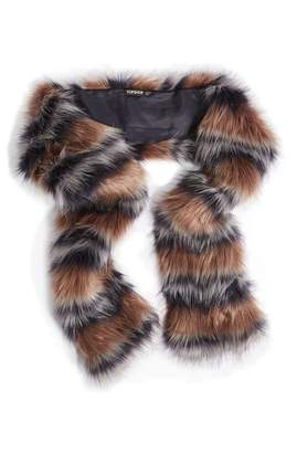 Topshop Tonal Stripe Faux Fur Scarf