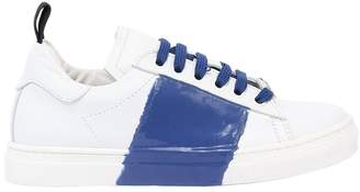 Rubber Stripe Two Tone Leather Sneakers