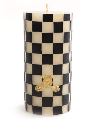 Mackenzie Childs Check Pillar Candle, Black/White