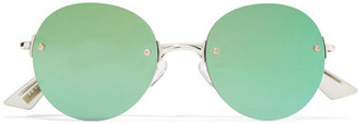 Le Specs - Bodoozle Round-frame Gold-tone Mirrored Sunglasses - Green $80 thestylecure.com