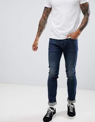 AllSaints cigarette skinny fit jeans in indigo wash