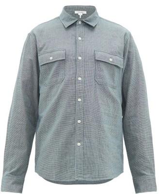 Frame Houndstooth Check Cotton Poplin Shirt - Mens - Blue Multi