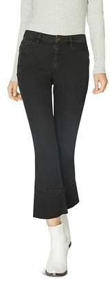 Sanctuary Connector Kick Crop Flared Jeans in Noir Black