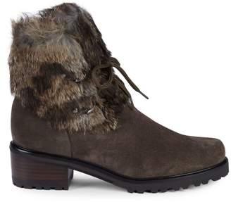 Stuart Weitzman Furnace Mink Fur & Suede Lace-Up Booties