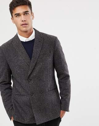 Selected slim fit double breasted blazer with fine grid check