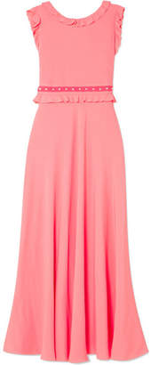 RED Valentino Ruffled Wrap-effect Crepe De Chine Midi Dress - Pink