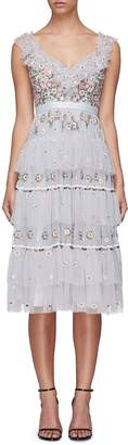 Needle & Thread 'Whimsical' floral embroidered tiered tulle dress