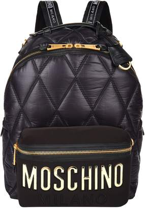 Moschino Large Quilted Logo Backpack
