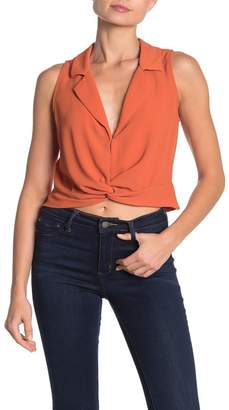 Lush Sleeveless Twist Front Shirt