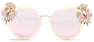 Cara Accessories Women's Crystal Crown Rounded Sunglasses $29.97 thestylecure.com
