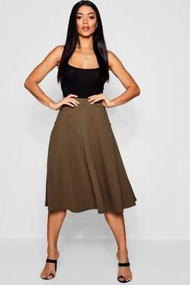 boohoo Basic Pocket Front Crepe Skater Midi Skirt