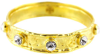Swarovski Budhagirl Hammered Gold Bangle with Crystals
