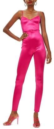 Topshop Jade Skinny Stretch Satin Jumpsuit