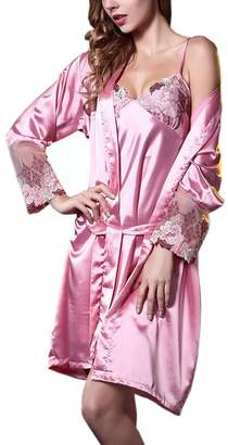 CRAZY Women s Sexy Soft Robe and Nightgown Set Pajama Dress-pink-L  Apparel 5d4d9cf6f