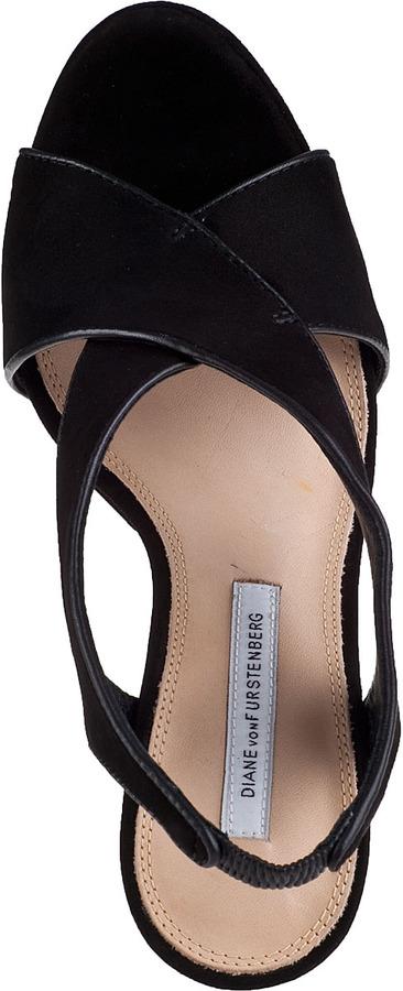 Diane von Furstenberg Julia Platform Sandal Black Suede