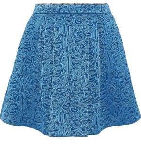 Roberto Cavalli Pleated Wool And Silk-Blend Jacquard Mini Skirt