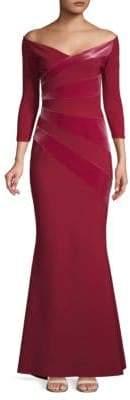 Chiara Boni Kaliska Velvet Striped Off-The-Shoulder Gown