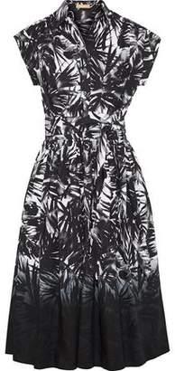 Michael Kors Belted Printed Cotton-Poplin Midi Dress