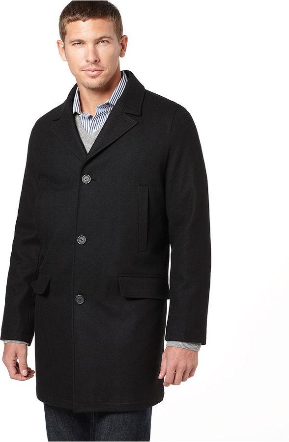 Tommy Hilfiger Coat, Melton Notch Collar Top Coat